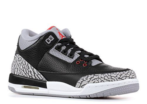 8e075f527e79 NIKE Jordan Retro 3 OG Black Cement Black Fire Red-Cement Grey (Big Kid)