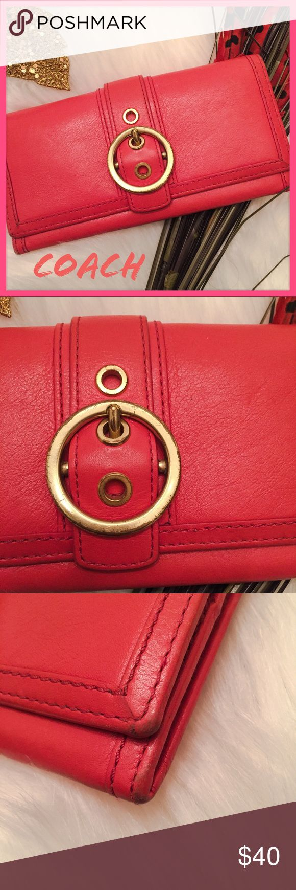 EUC POPPY RED COACH TWO FOLD WALLET Gorgeous authentic leather coach wallet. Rare design from older collections. All edges have signs of wear, pen mark on top right of inside when open. Sincerely apologize for the pen mark as it wasn't put there by myself. In the process of trying to get ink remover for leather to clean it. Ask any questions before purchasing. ❌trades ❌ PayPal ❌ holds 👗Measurements upon request  👍 offers*** Please use the offer button ☝🏼 PM Takes 20% commission  📦 fast…