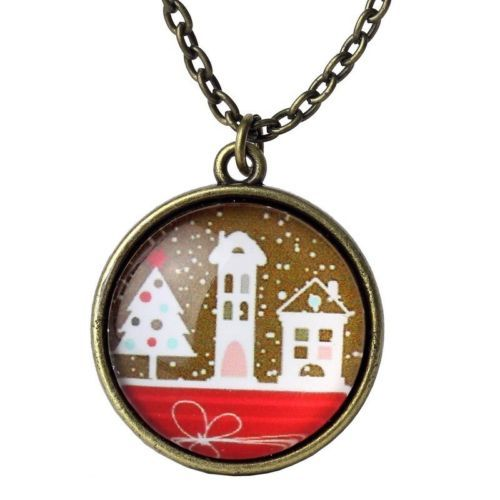 Vintage Bronze Antique Style Xmas Village Cabochon Necklace Pendant with Chain, just £5.99! Perfect for Christmas!  http://www.happiesttomato.co.uk/apps/webstore/products/show/6416554  #Christmas #necklace