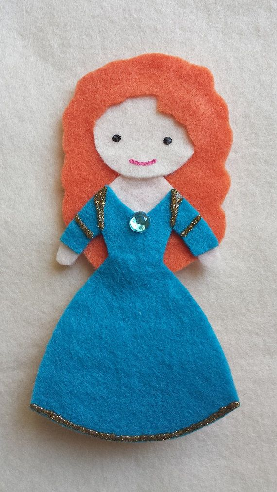 Disney Princess Merida from the movie Brave felt doll finger puppet. All of the Disney princess puppets in the shop measure appox. 5 inches tall, 2-3