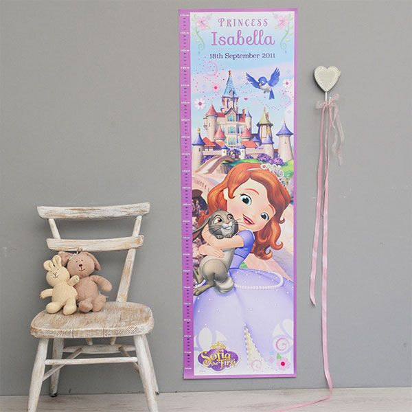 Your little one will love watching herself grow next to the lovely Princess Sofia! Our Personalized Sofia the First Growth Chart will look gorgeous hanging up in your child's bedroom and even features her Name and Date of Birth at the top. http://www.simplypersonalized.com/product/personalized-sofia-the-first-growth-chart/?utm_source=pinterest&utm_medium=post