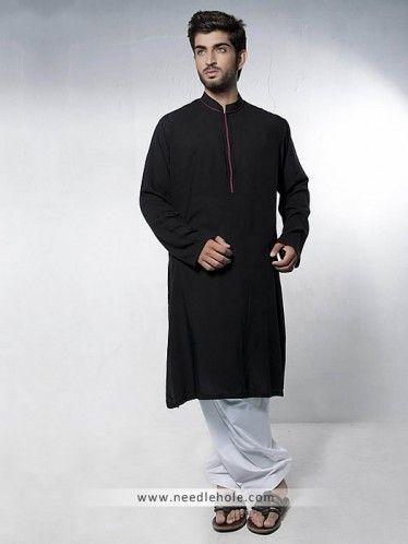 #Kurta shalwar for men in #black color with embroidered collar and front http://www.needlehole.com/embroidered-kurta-shalwar-for-men-in-black-color.html #Amir adnan #kurta shalwar suits and #salwar kurta uk. Latest pakistani #shalwar #kameez designs, salwar kamiz and indian kurta shalwaar for men by amir adnan mens shop in uk