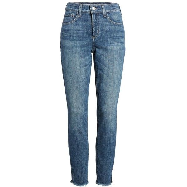 Women's Nydj Ami Frayed Hem Stretch Skinny Ankle Jeans ($90) ❤ liked on Polyvore featuring jeans, newton, petite, blue skinny jeans, blue jeans, frayed hem jeans, petite skinny jeans and stretchy jeans