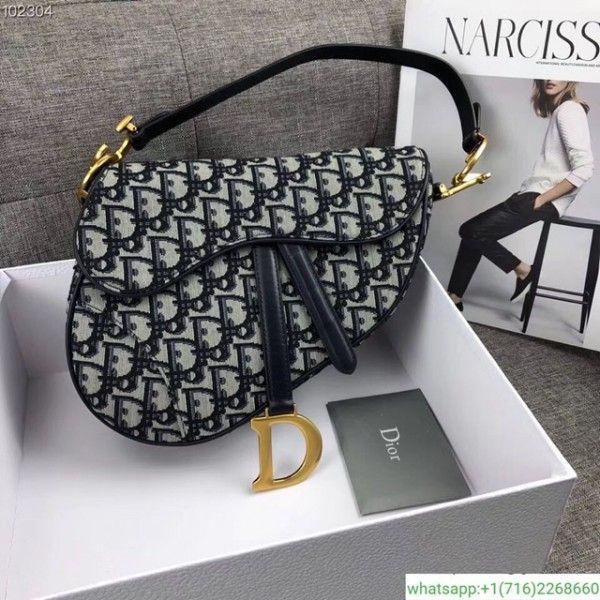 Dior saddle bag 2018 new leather and canvas  f36fda130eb41