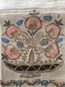 19th C ANTIQUE OTTOMAN-TURKISH HAND EMBROIDERED ON LINEN '' YAGLIK'' FRAG
