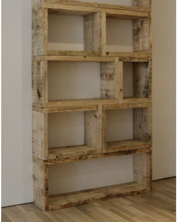 I love the look of these shelves, they are supposedly wood crates with the bottoms cut off.  I like the different sizes together