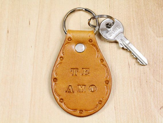 Te Amo Keyring, Leather Keyring, Leather Key Fob. Repin To Remember.