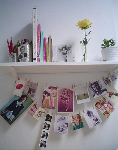 Wouldn't mind looking up at this while I'm doing boring homework. What a fab distraction.: Photo Hanging, Photo Display, Hanging Pictures, Pictures Display, Cute Ideas, Inspiration Boards, Foto, Display Photo, Desks Spaces
