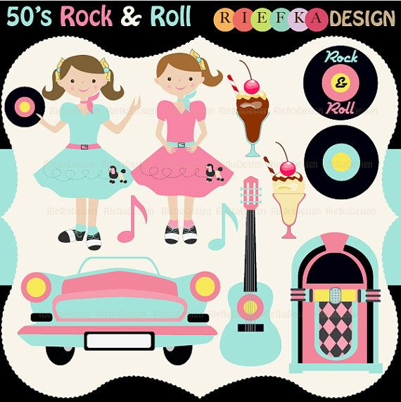 50's Rock and Roll Clipart Set by riefka on Etsy, $5.50