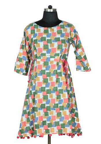 Block Printed Pom Pom Dress Design 2 – Desically Ethnic