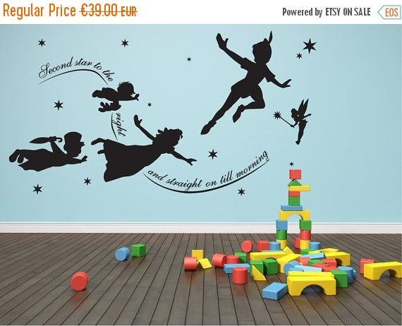 SALE Peter Pan Wall Decal Vinyl Mural Nursery Par Quirkyworks33 Part 78