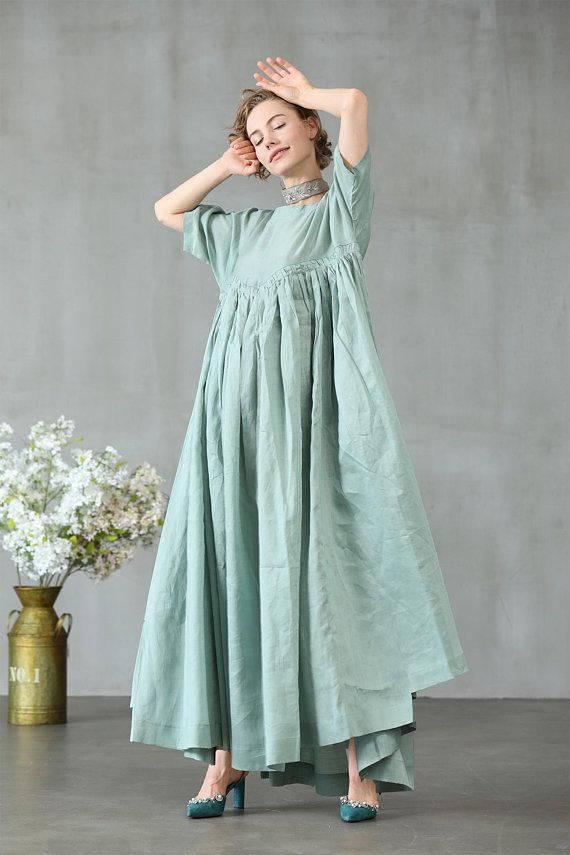 1a562ae3fc9e maxi linen dress in aqua green ruffle dress princess linen
