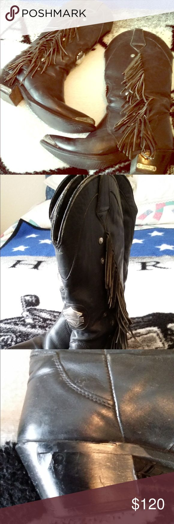 Harley Davidson Motorcycle Boots HD boots. Bought in Sturgis, SD in 1996.  Scuff mark on heel from exhaust pipe.  Size 7 med.  Been in closet unworn for at least 10 years! Harley-Davidson Shoes Combat & Moto Boots