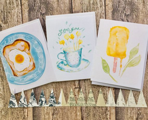 Set of three watercolour illustration notecards..china cup