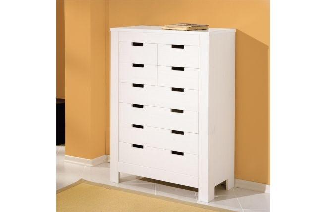 Commode blanche design pin 8 tiroirs GAIA prix promo Miliboo 249,00 € TTC