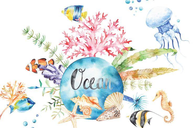Aquarell-Ozean-Set Clipart Anemonen Korallen tropische