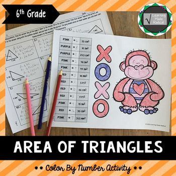 Area of Triangles Color By Number Activity 6.G.A.1Time to practice area of a triangle? Check out this adorable color by number activity! The activity focuses only on area of a triangle when given base and height. Plenty of room within the activity to show work - answers need to be rounded the nearest tenth if necessary.