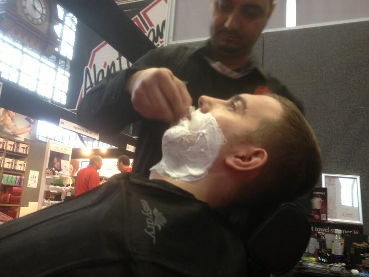 Sheriff using @easydryintl towels @prohairlive on the @BritishBarbers stand #barberlife