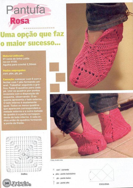 Pantufa feita de squares de crochê - gráfico São 8 squares para cada pé