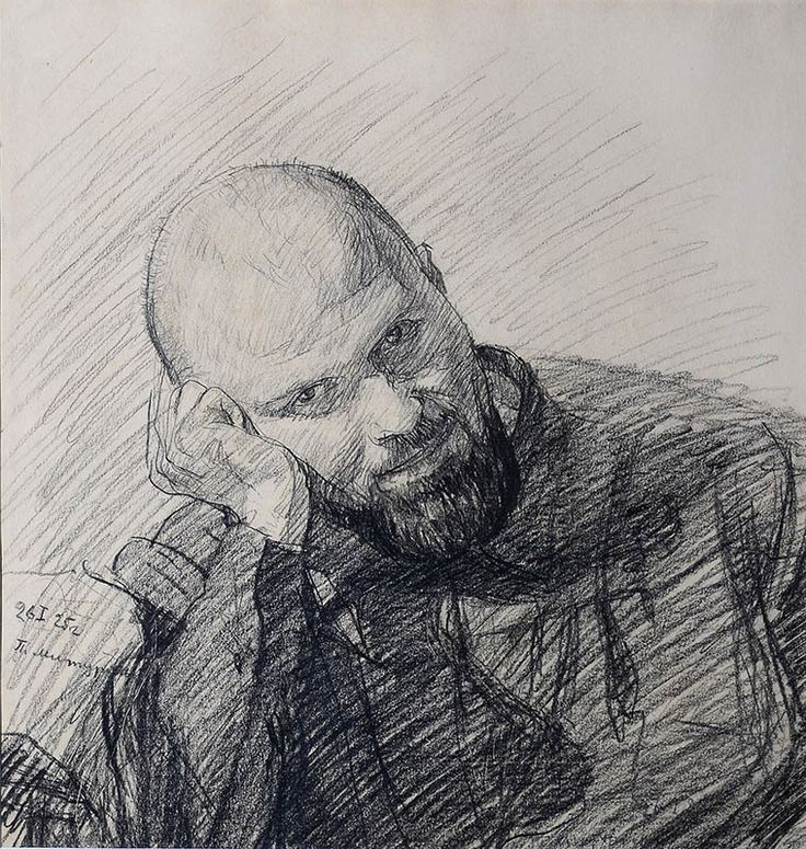 Петр Митурич (1887-1956), Портрет художника П.И. Львова, 1925. Бумага, черный карандаш | ГТГ
