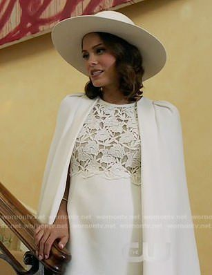 Cristal S White Lace Caped Dress On Dynasty Tv Style Steal