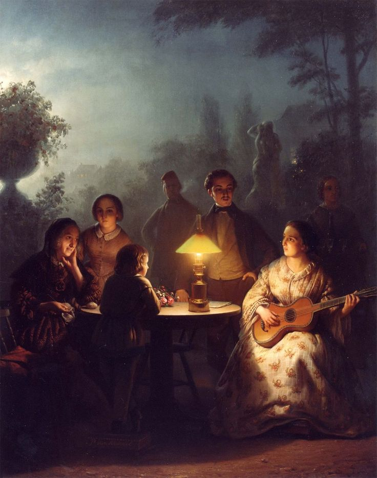 New Petrus van Schendel A Summer Evening by Lamp and by Moonlight