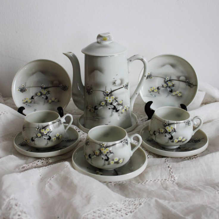Set Small Vintage Coffee Cups Espresso Anese Teacups Stork Bird Made In An Grey China