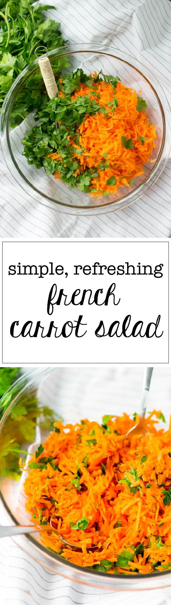Add this simple, refreshing, and healthy carrot salad to your table to channel the best parts of the French family dinner!  via @nourishandfete