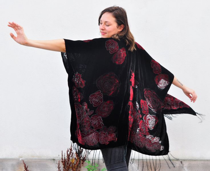 Velvet Kimono: Red and Black Velvet Burnout Beach Cover Up Shawl Open Wrap by HalinaShearmanDesign on Etsy