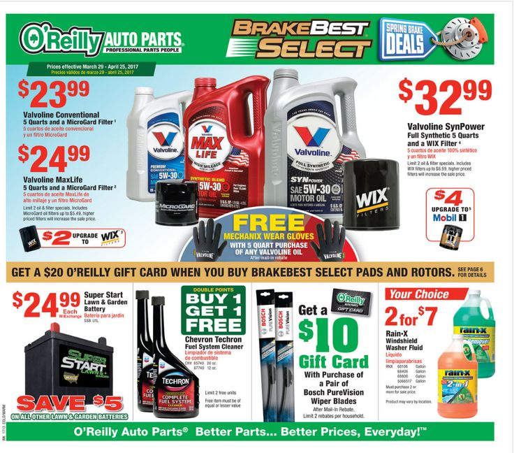 O Reilly Auto Parts March 29 - April 25, 2017 - http://www.olcatalog.com/oreilly-auto/oreilly-auto-parts.html