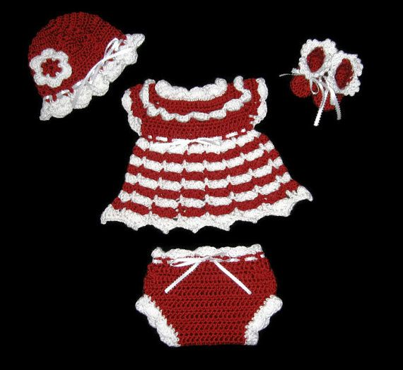 Red Crochet Baby Dress Set Red Diaper by CreativeDesignsbyAmi