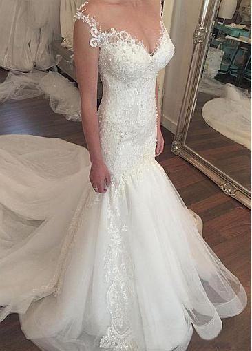 Fabulous Tulle & Satin Bateau Neckline Mermaid Wedding Dresses With Beaded Lace Appliques