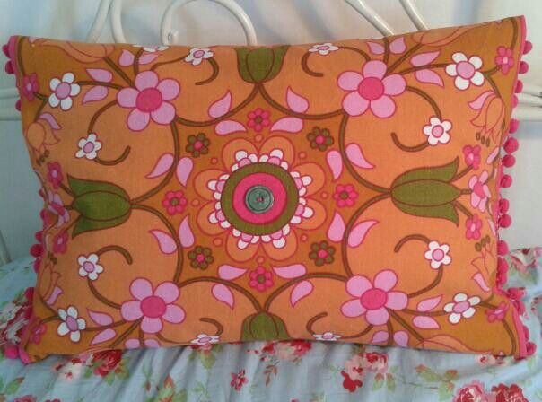 Cushion made by me from a 1970s tea towel
