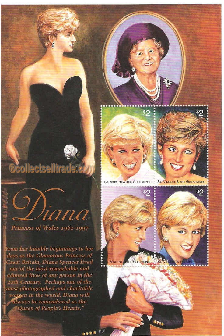 Princess diana stamp unused sheet stamps pinterest