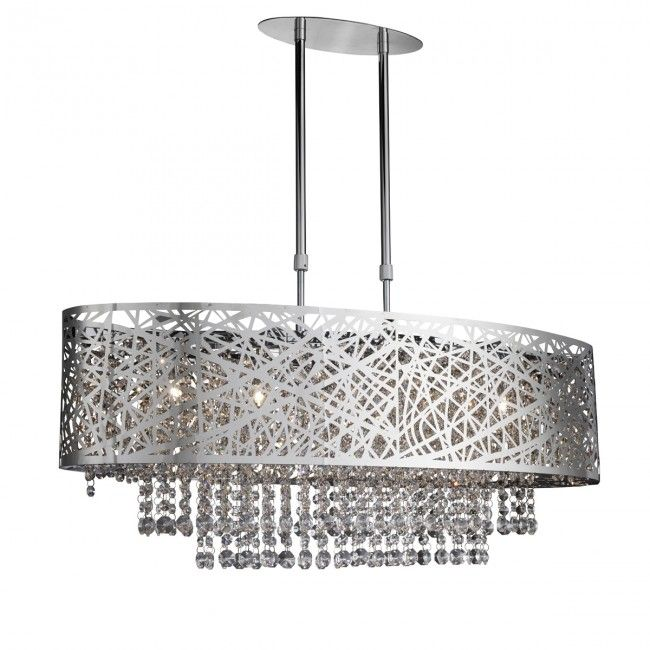 Mica Chrome 5 Light Fitting With Crystal Button Drops