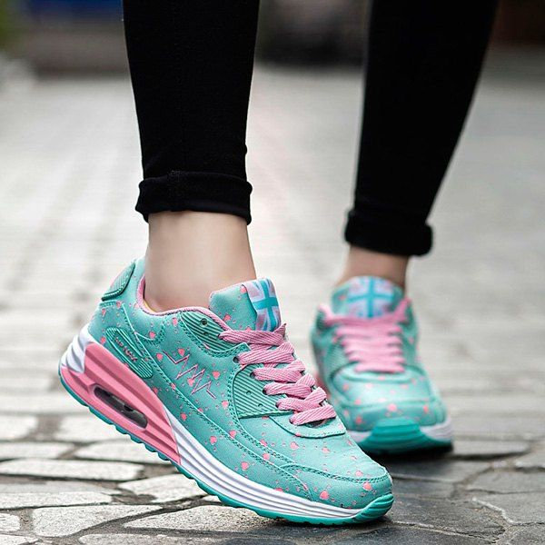 Wholesale Stylish Tie Up and Heart Print Design Athletic Shoes For Women Only $14.12 Drop Shipping | TrendsGal.com