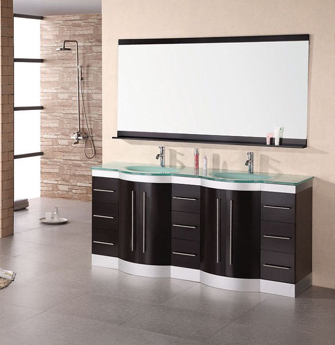 jasper double sink vanity set with tempered glass countertop dec023 gtp by design element