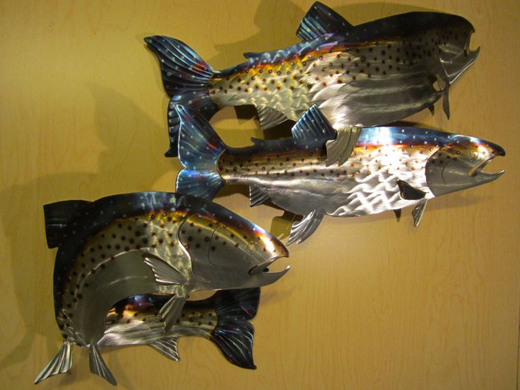 Salmon Steelhead Spawning Fish Fly Fishing Fisherman Swimming Etsy Metal Wall Art Steelhead Art Pieces