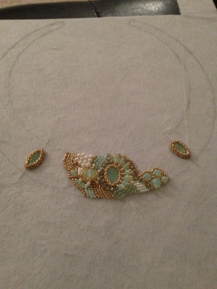 Bead embroidery work in progress.                                                                                                                                                                                 More