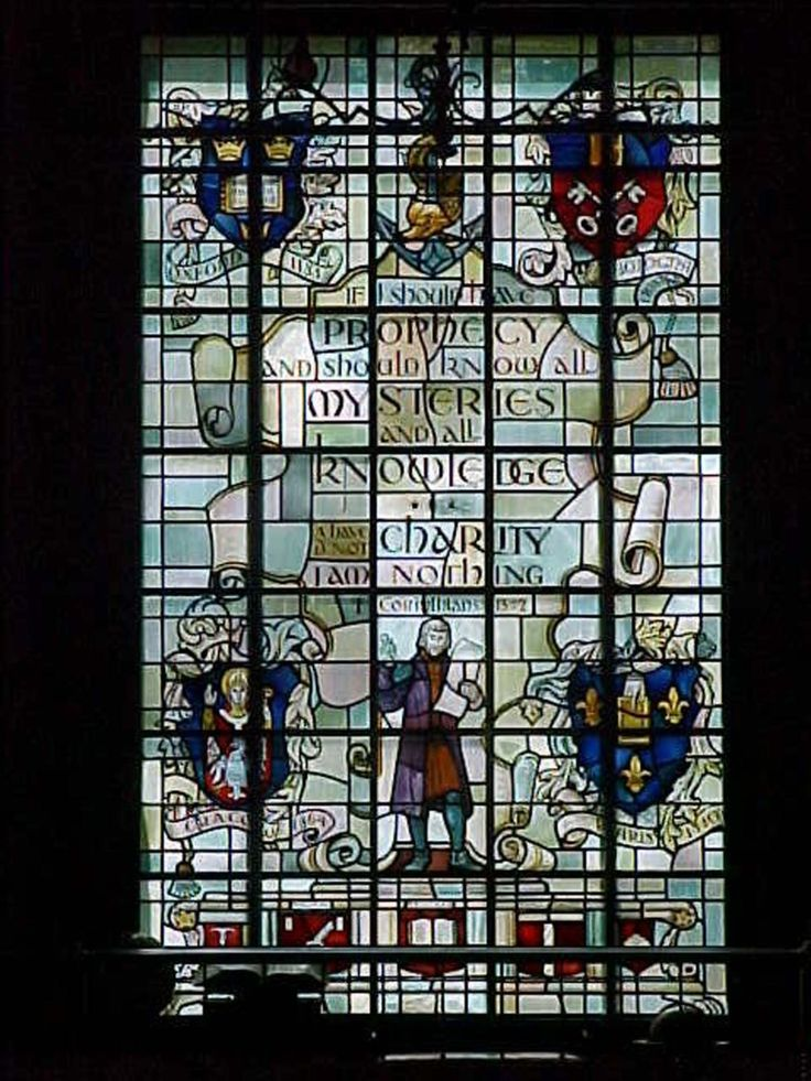 Duns Scotus Library Charity Stained Glass Window Lourdes College