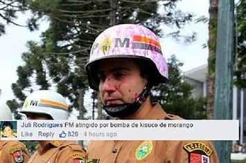 Policiais viram meme depois de aparecem em fotos 'feridos' por tinta rosa