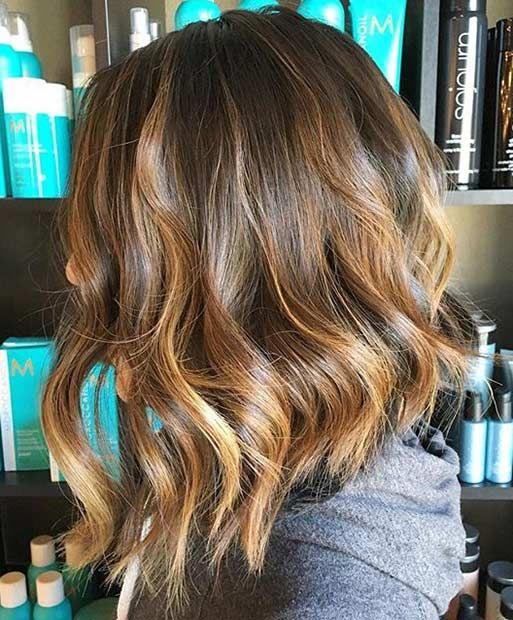 Long Inverted Bob Haircut with Caramel Highlights