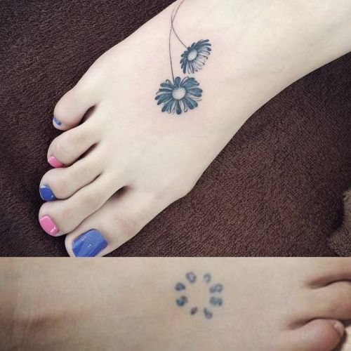 83 Awesome Y G Tattoos Cool Tattoo Designs: Daisy Cover Up On The Foot. Tattoo Artist: Doy