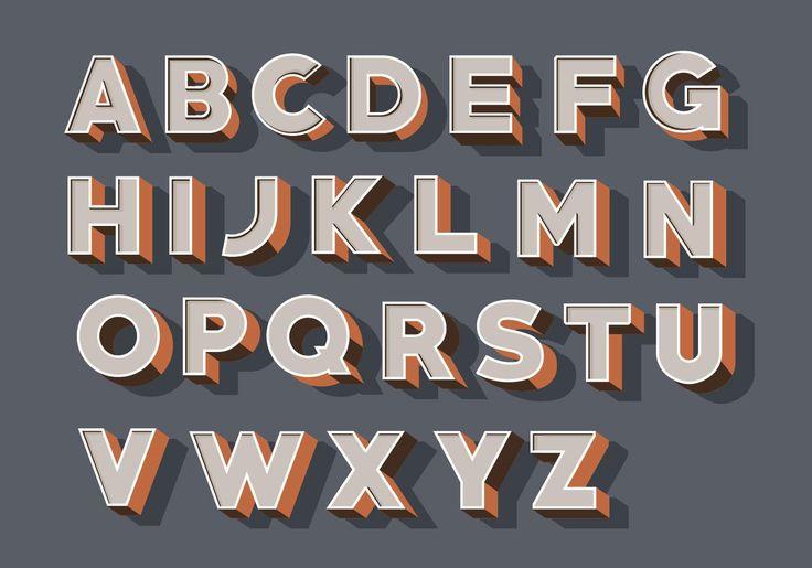 Download 3D Fonts Vector Pack   Lettering, Free vector art, Vintage ...