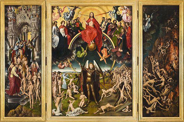 Hans Memling  (ca. 1430-40 – 1494) was een kunstschilder afkomstig uit het keurvorstendom Mainz. Hij wordt algemeen beschouwd als een van de prominenten van de Oudnederlandse schilderkunst beter bekend als de Vlaamse Primitieven. Het Laatste Oordeel (1467-71). Opdrachtgever van het schilderij was Angelo Tani (1415-1492). Hij is samen met zijn vrouw Caterina Tangeli afgebeeld op de buitenkant van de zijpanelen.