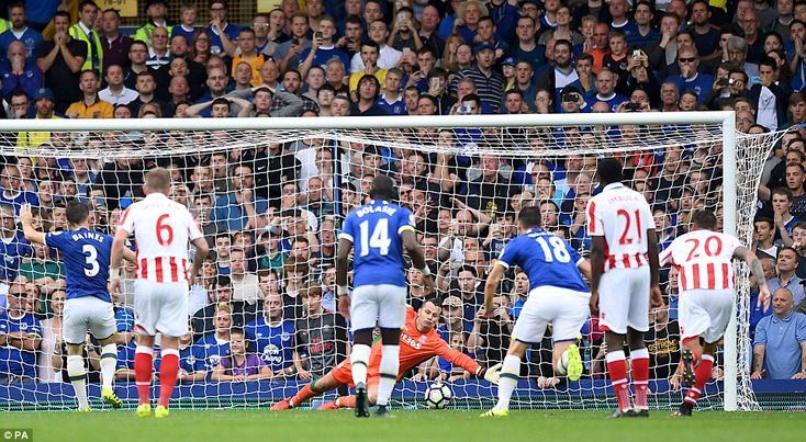 27 August 2016  Leighton Baines' penalty strikes the foot of the Stoke post and rebounds back into the net from the back of the unfortunate Shay Given