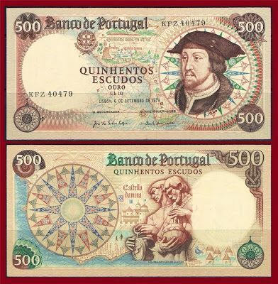 500 Escudos 1979 O antigo dinheiro portugues antes do Euro (Old portuguese many before the Euro)