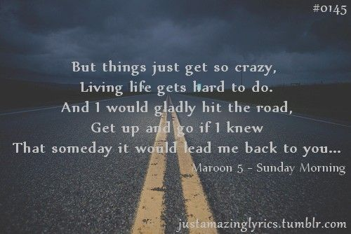 Sunday Morning - Maroon 5 Beautifully written lyrics