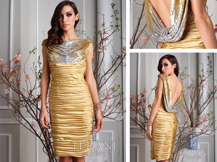 Satin chiffon ruched dress with fully beaded cowl neckline on front and low cowl neckline on back