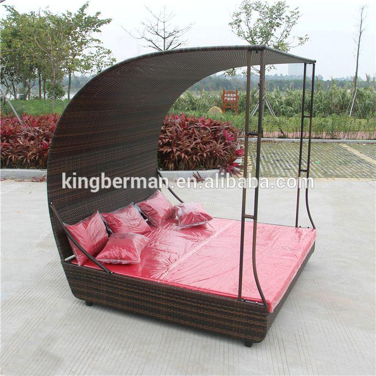 Muebles de jardín Sofá de Mimbre Cama Solar Piscina de Ocio Al Aire Libre Sofá-Cama con Dosel